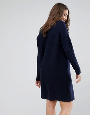 photo Jumper Dress in Ripple Stitch by ASOS CURVE, color Navy - Image 2