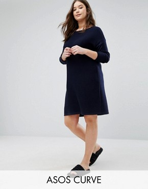 photo Jumper Dress in Ripple Stitch by ASOS CURVE, color Navy - Image 1
