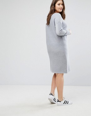 photo Jumper Dress in Ripple Stitch by ASOS CURVE, color Mid Grey Marl - Image 2