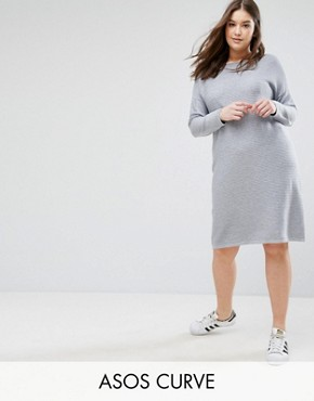 photo Jumper Dress in Ripple Stitch by ASOS CURVE, color Mid Grey Marl - Image 1