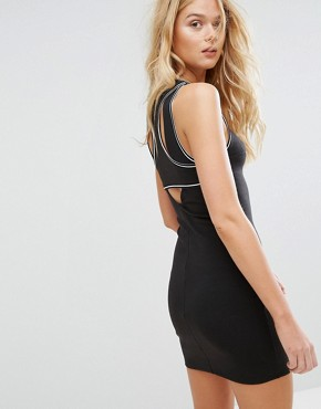 photo Bodycon Dress with Racer Back by Hollister, color Black - Image 1