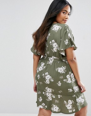 photo Floral Wrap Dress by New Look Plus, color Green Pattern - Image 2