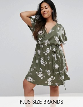 photo Floral Wrap Dress by New Look Plus, color Green Pattern - Image 1