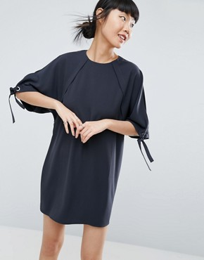 photo Tie Sleeve Shift Dress by ASOS, color Black - Image 2