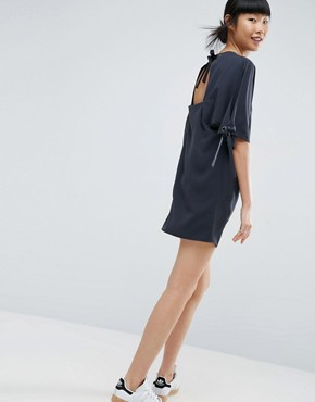 photo Tie Sleeve Shift Dress by ASOS, color Black - Image 1