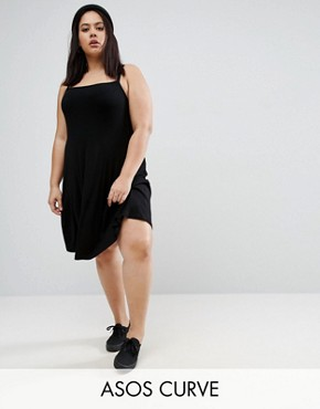 photo Mini Cami Swing Dress in Rib by ASOS CURVE, color Black - Image 1