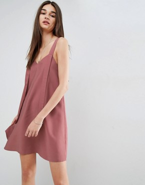 photo Dungaree Mini Swing Dress with Eyelet Detail by ASOS, color Pink - Image 2