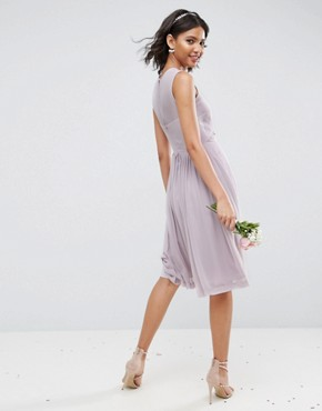 photo Midi Dress with Ruched Panel Detail by ASOS WEDDING, color Lilac - Image 2
