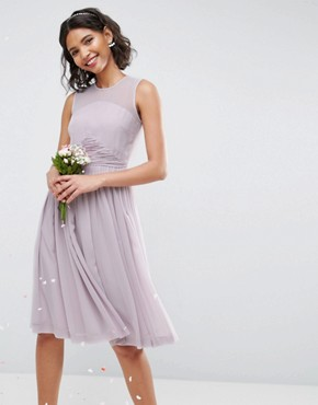 photo Midi Dress with Ruched Panel Detail by ASOS WEDDING, color Lilac - Image 1