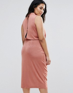 photo High Neck Tie Side Midi Bodycon Dress by ASOS CURVE, color Rose - Image 2