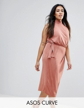 photo High Neck Tie Side Midi Bodycon Dress by ASOS CURVE, color Rose - Image 1
