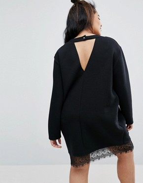 photo Ribbed Sweat Dress with Lace Hem by ASOS CURVE, color Black - Image 2