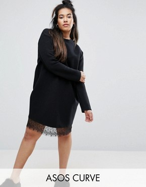 photo Ribbed Sweat Dress with Lace Hem by ASOS CURVE, color Black - Image 1