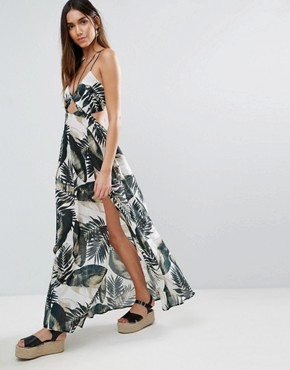 photo Beach Maxi Dress with Strap Detail in Mono Palm Print by ASOS, color Mono Palm - Image 1