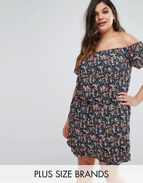photo Bardot Dress in Floral Print by Rage Plus, color Black Floral - Image 1