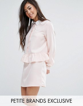 photo Long Sleeve Frill Detail Dress with Collar Detail by Fashion Union Petite, color Nude - Image 1