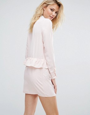 photo Long Sleeve Frill Detail Dress with Collar Detail by Fashion Union Tall, color Nude - Image 2