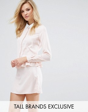 photo Long Sleeve Frill Detail Dress with Collar Detail by Fashion Union Tall, color Nude - Image 1