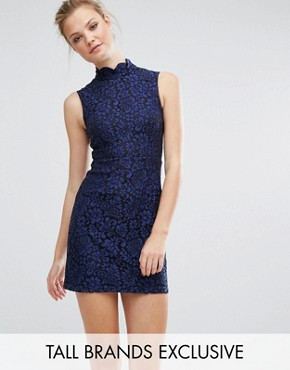 photo All Over Lace Skater Dress by Fashion Union Tall, color Navy - Image 1