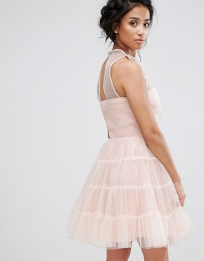 photo Tiered Tulle Mini Prom Dress by Little Mistress Petite, color Blush - Image 2