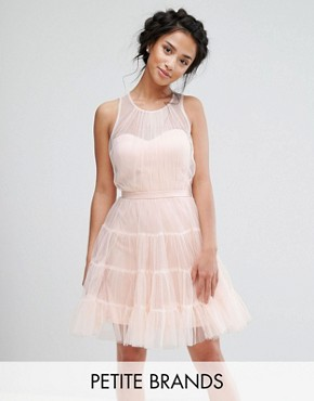 photo Tiered Tulle Mini Prom Dress by Little Mistress Petite, color Blush - Image 1