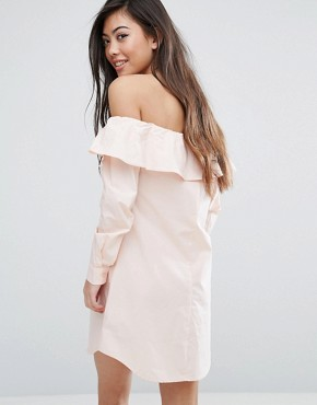 photo Bardot Button Front Shirt Dress by Fashion Union Petite, color Peach - Image 2
