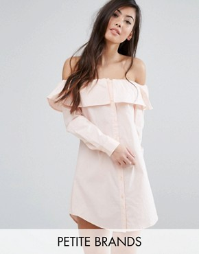 photo Bardot Button Front Shirt Dress by Fashion Union Petite, color Peach - Image 1
