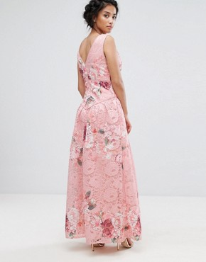 photo Wrap Front Detail Prom Dress in All Over Floral Printed Lace by Little Mistress Petite, color Multi - Image 2