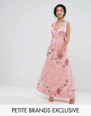 photo Wrap Front Detail Prom Dress in All Over Floral Printed Lace by Little Mistress Petite, color Multi - Image 1