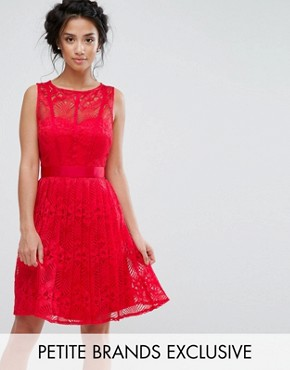 photo Lace Skater Dress with Pleated Skirt by Little Mistress Petite, color Red - Image 1