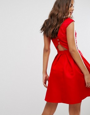 photo Bardot Prom Dress with Lace Top and Embellished Waist by Little Mistress Tall, color Red - Image 2