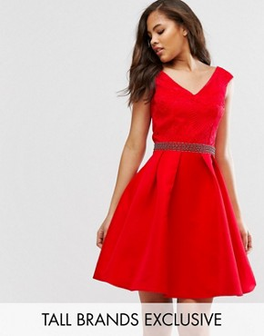 photo Bardot Prom Dress with Lace Top and Embellished Waist by Little Mistress Tall, color Red - Image 1