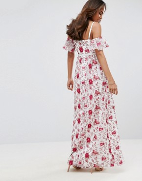 photo Cold Shoulder All Over Premium Embroidered Maxi Dress by Little Mistress Tall, color Multi - Image 2