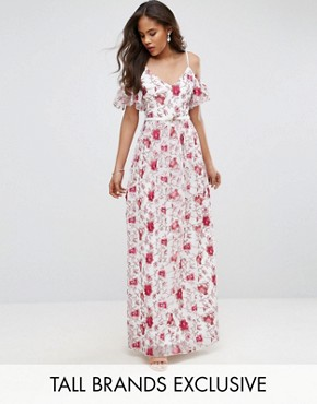 photo Cold Shoulder All Over Premium Embroidered Maxi Dress by Little Mistress Tall, color Multi - Image 1