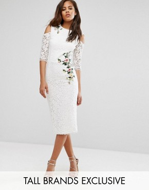 photo Cold Shoulder Lace Pencil Dress with Floral Embroidery by Little Mistress Tall, color Ivory - Image 1