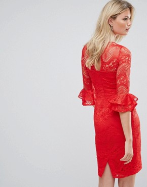 photo All Over Lace Pencil Dress with Fluted Sleeve Detail by Little Mistress Tall, color Red - Image 2