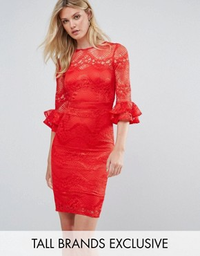 photo All Over Lace Pencil Dress with Fluted Sleeve Detail by Little Mistress Tall, color Red - Image 1