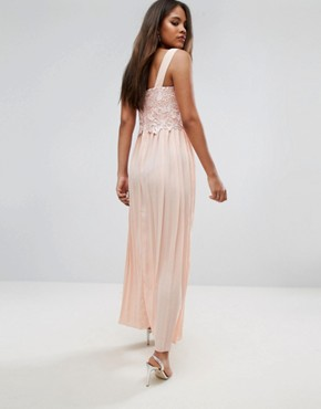 photo Premium Lace Top Maxi Dress with Pleated Skirt by Little Mistress Tall, color Peach - Image 2