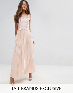 photo Premium Lace Top Maxi Dress with Pleated Skirt by Little Mistress Tall, color Peach - Image 1