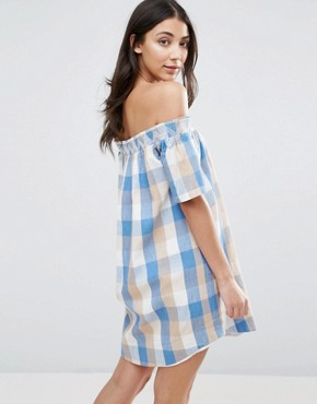 photo Plaid Off Shoulder Dress by The English Factory, color Blue Combo - Image 2