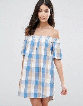 photo Plaid Off Shoulder Dress by The English Factory, color Blue Combo - Image 1