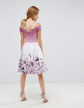 photo Off Shoulder Prom Dress in Placement Floral Print by ASOS PETITE SALON, color Multi - Image 2