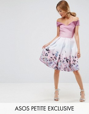 photo Off Shoulder Prom Dress in Placement Floral Print by ASOS PETITE SALON, color Multi - Image 1