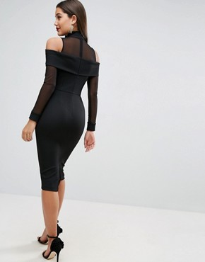 photo Pencil Dress in Rib with Mesh Detail and Cold Shoulder by ASOS, color Black - Image 2