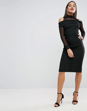 photo Pencil Dress in Rib with Mesh Detail and Cold Shoulder by ASOS, color Black - Image 1