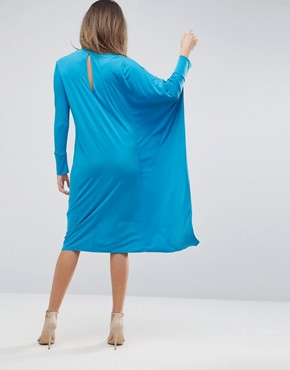 photo Oversized Midi Dress with Asymmetric Batwing Sleeve by ASOS, color Turquoise - Image 2