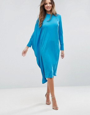 photo Oversized Midi Dress with Asymmetric Batwing Sleeve by ASOS, color Turquoise - Image 1