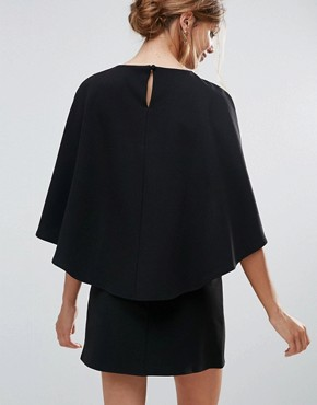 photo Cape Back Mini Shift Dress by ASOS, color Black - Image 2
