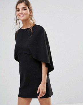 photo Cape Back Mini Shift Dress by ASOS, color Black - Image 1