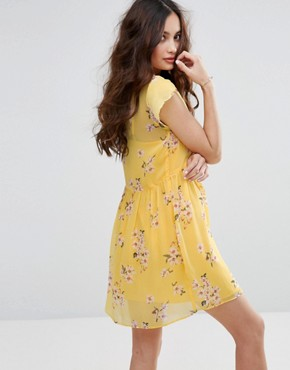 photo Floral Print Tea Dress by Abercrombie & Fitch, color Yellow - Image 2